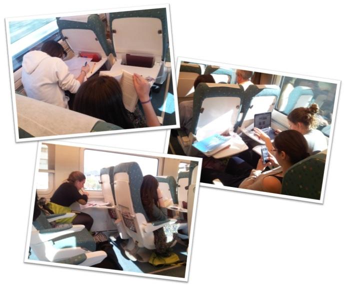 Volviendo a casa en el tren, tenemos mucho que estudiar.